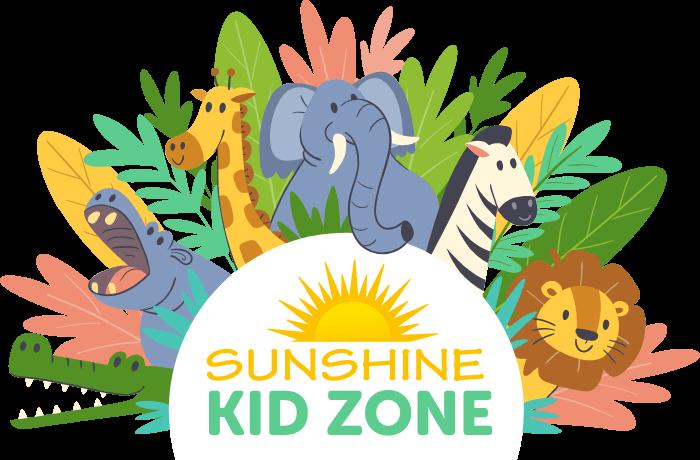 Animals surrounding the text Sunshine Kid Zone
