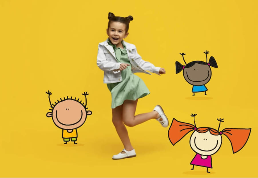 Young girl dancing with cartoon illustrations