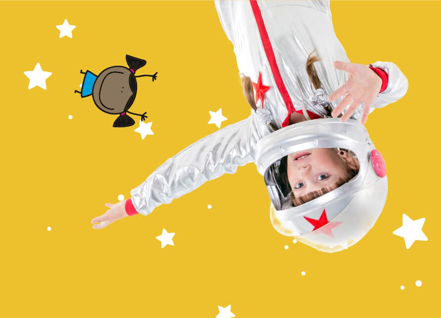 child in astronaut suit with illustrations